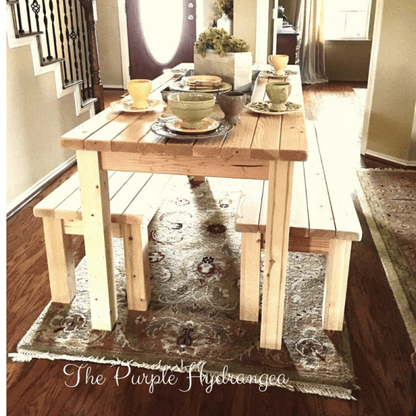 Build With 2x4s, Farmhouse Table And Benches, The Purple Hydrangea