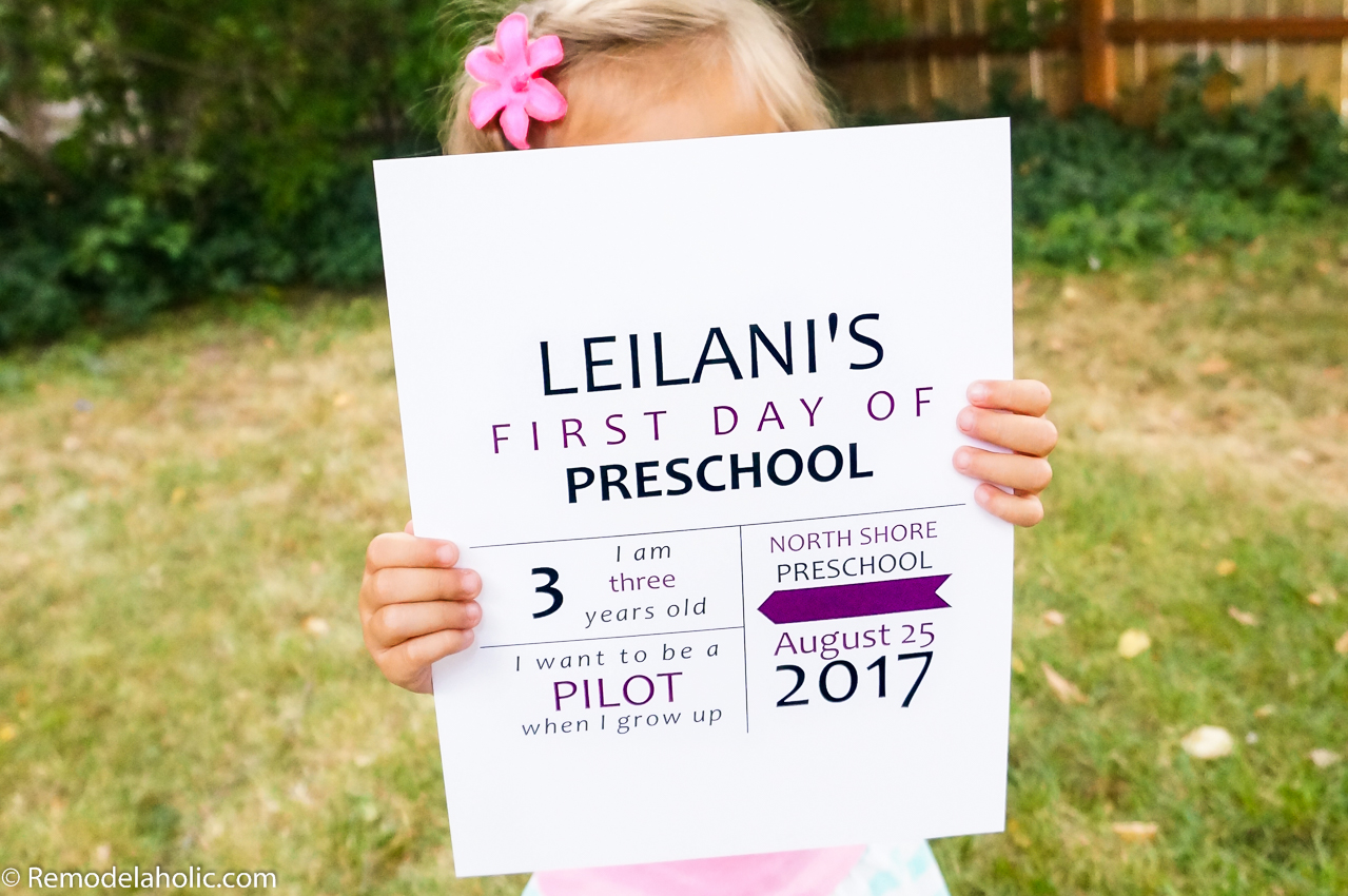 image regarding First Day of Preschool Free Printable known as Remodelaholic Refreshing! No cost Printable Initial Working day of College