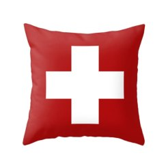 Gender Neutral Shared Kids Room Red Swiss Cross Pillow