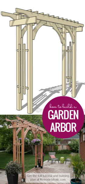 How To Build A Garden Arbor For A Backyard Structure Or Outdoor Wedding @Remodelaholic Crop
