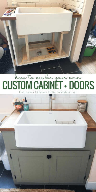 How To Make Your Own Custom Cabinet Doors For An Odd Sized Cabinet Space @Remodelaholic