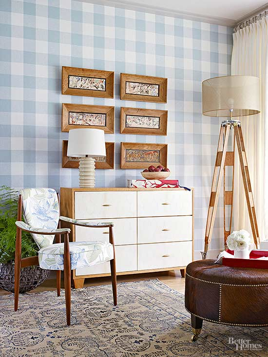 Buffalo Check Wall Covering Via BHG
