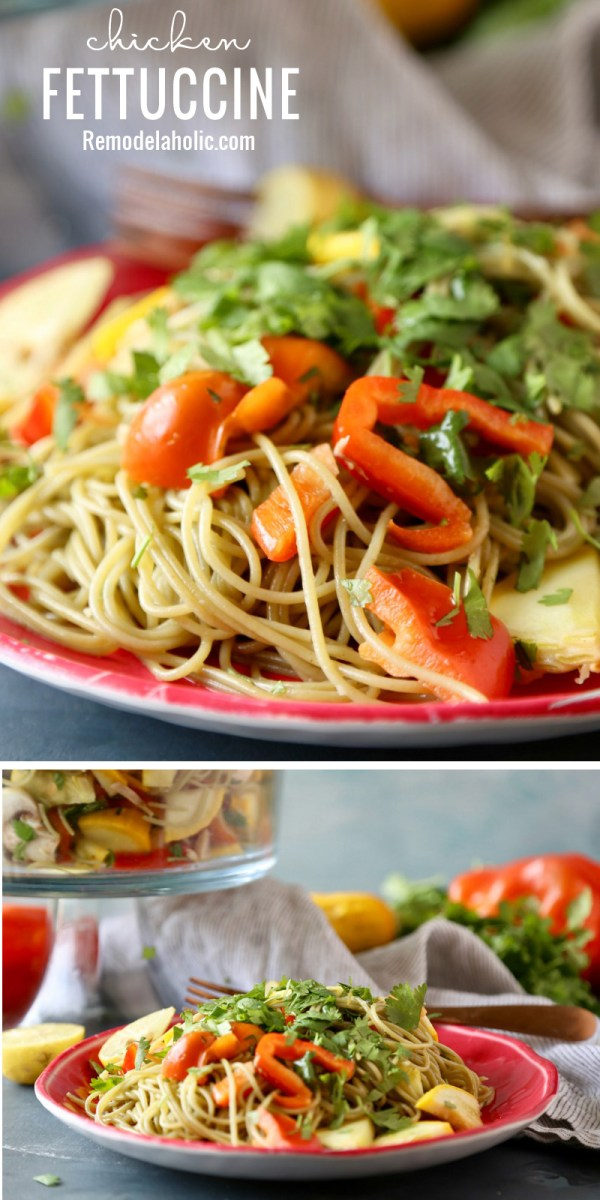 A yummy different twist on Chicken Fettuccine. Recipe via Remodelaholic.com