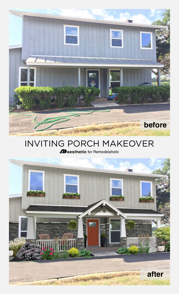 Inviting Porch Virtual Makeover • AD Aesthetic for Remodelaholic | mid-century modern | curb appeal