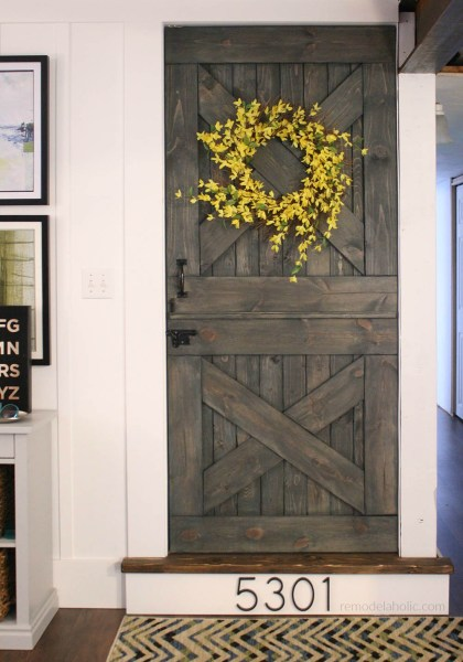 Color Washing Paint Technique Finished Dutch Barn Door Split Door Baby Gate @Remodelaholic