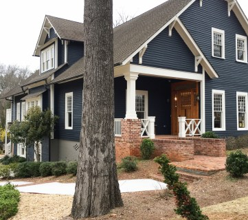 Exterior Craftsman Home House Dark Blue Gray Paint Color Restoration Historic White Trim Stained Doors 1 Of 2
