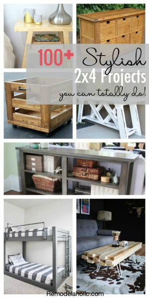 100+ Stylish 2x4 Projects you can totally do! Tables, chairs, doors and so much more out of structural lumber featured on Remodelaholic.com