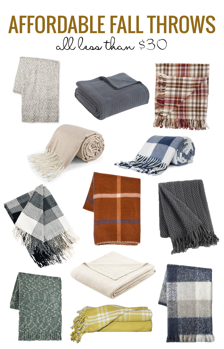 Cuddle up in style! Affordable Fall Throws Under $30 2017 via Remodelaholic.com