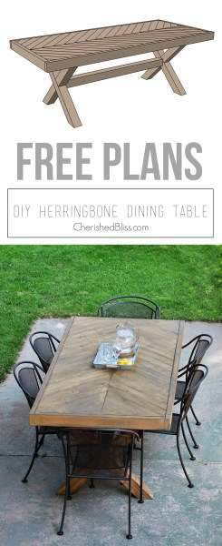 DIY Outdoor Herringbone Table