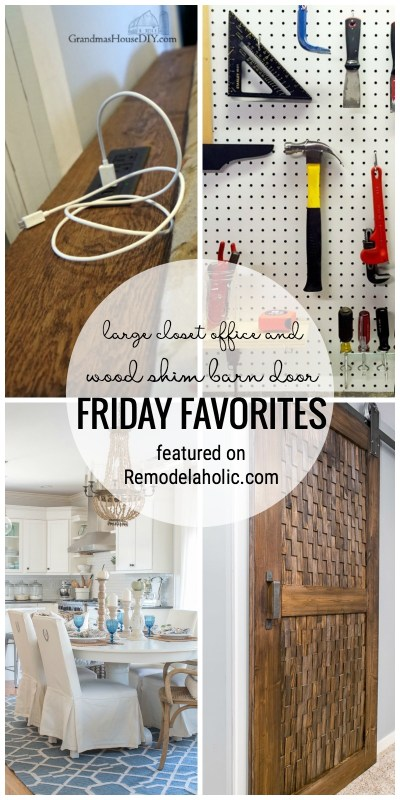 Remodelaholic | Friday Favorites: Wood Shim Barn Door and Closet Office