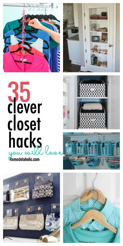 Use every last bit of that closet space! Check out our 35 favorite clever closet hacks featured on Remodelaholic.com