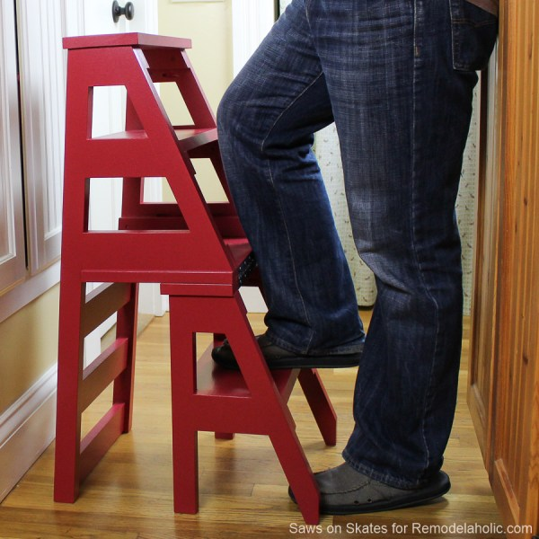 DIY Ladder Chair, Folding Step Stool Chair Woodworking Plan