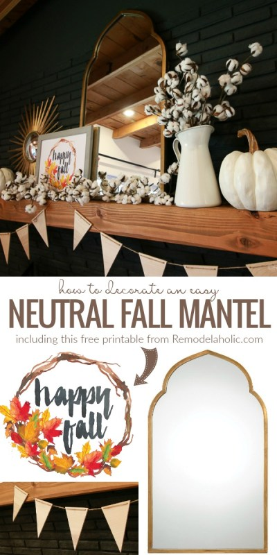 How To Decorate A Neutral Fall Mantel Including A Free Watercolor Fall Printable @Remodelaholic