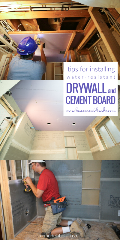 How To Install Mildew And Water Resistant Drywall And Cement Board In A Jack And Jill Basement Bathroom @Remodelaholic