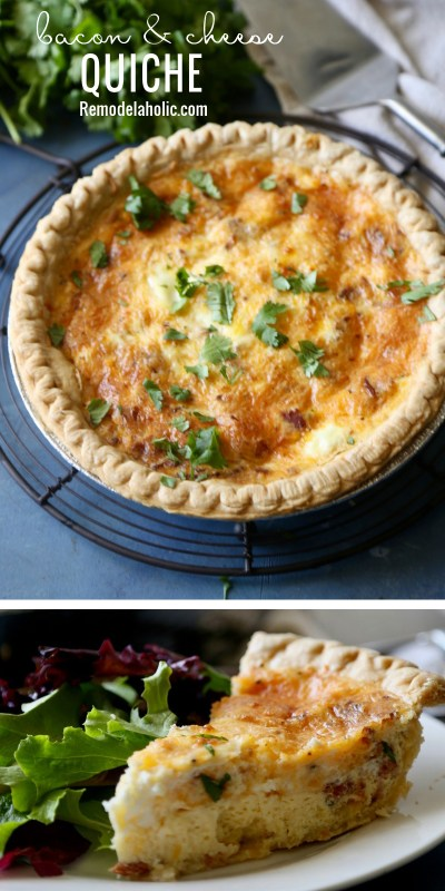 Bacon & Cheese Quiche Remodelaholic