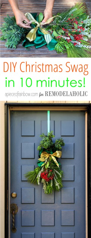 Make your own DIY Christmas swag from fresh evergreen branches and clippings in just TEN MINUTES! Plus, see how to put together a beautiful lighted pine cone wreath in under an hour. Easy natural winter and Christmas decorating ideas and tutorials.
