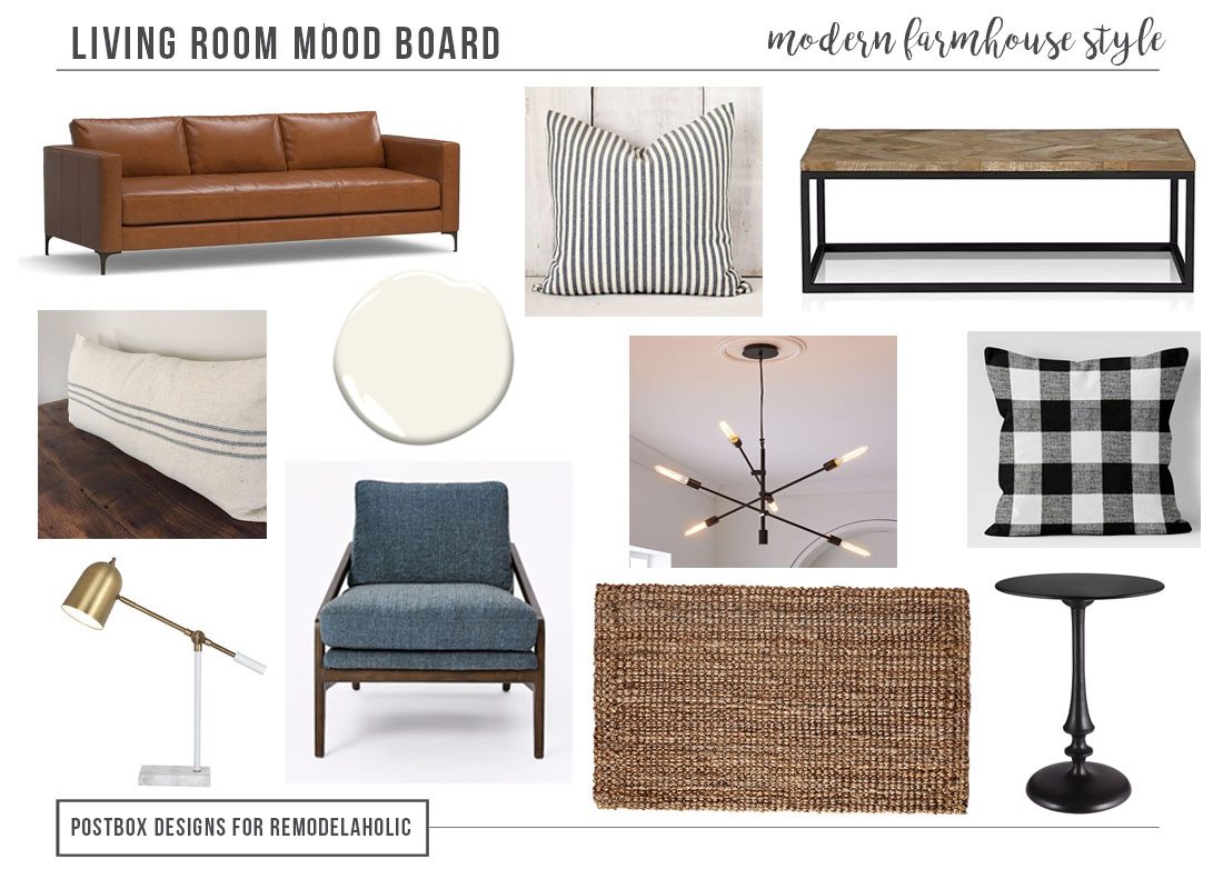 1 Room Styled 3 Ways: Modern Farmhouse Living Room by Postbox Designs Interior E-Design