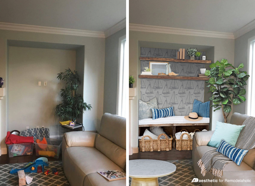 Remodelaholic | Real Life Rooms: Decorating Cori's Nautical Nook on design ideas for columns, design ideas for garages, design ideas for tables, design ideas for nooks, design ideas for shelves, design ideas for empty spaces, design ideas for porches, design ideas for courtyards, design ideas for bedrooms, design ideas for doors, design ideas for kitchens, design ideas for corners, design ideas for cabinets, design ideas for closets, design ideas for basements, design ideas for bathrooms,