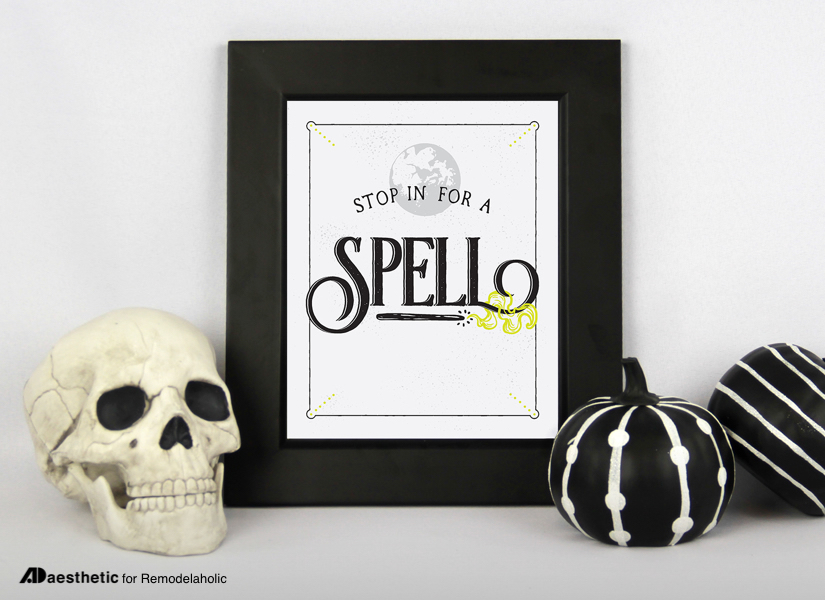 This free Halloween printable makes spooky decorating as easy as download and print! Stop in for a spell... and invite your witch-y friends! Available in 4 sizes. Design by AD Aesthetic for Remodelaholic.com