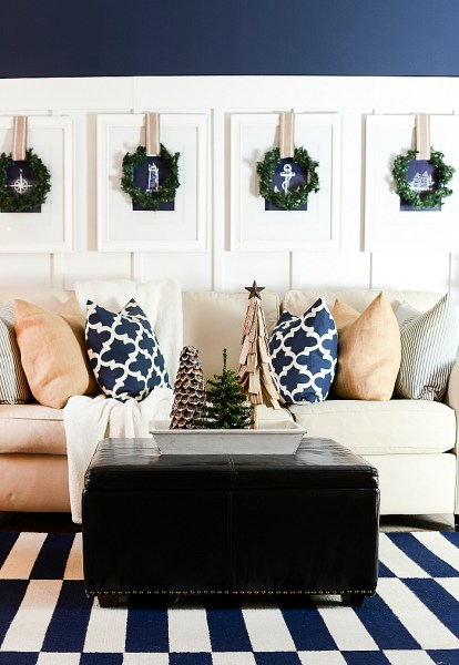 Christmas Decorating Ideas Neutral Burlap White Navy Rustic LIVING ROOM @It All Started With Paint 12 Of 36
