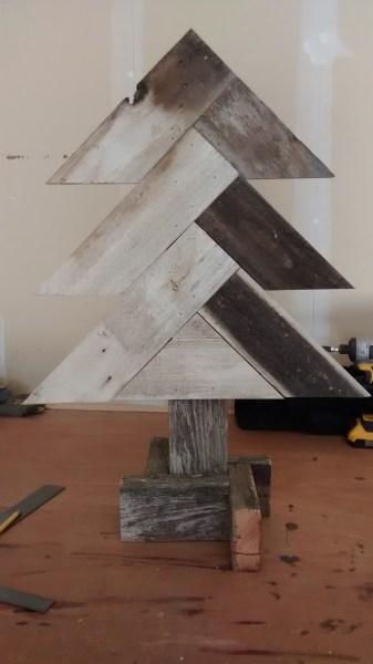 Remodelaholic Herring Bone Tree Finish Pic In Garage (1)