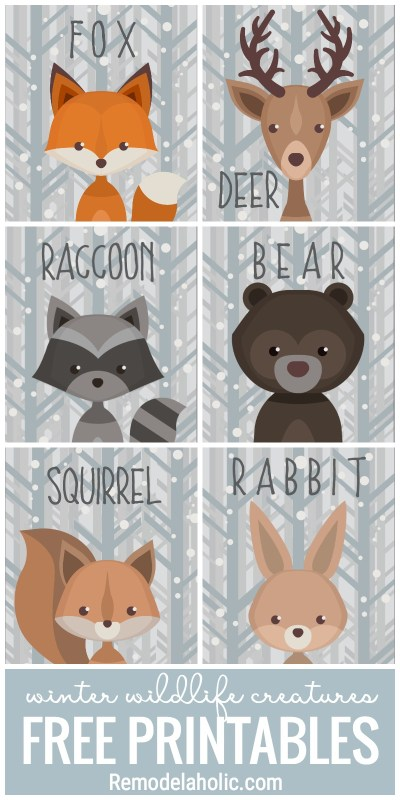 Adorable Winter Wildlife Creatures Free Printables. Great For Gift Tags, Wall Art, And So Much More At Remodelaholic.com
