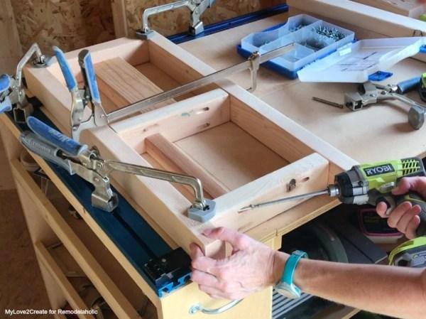 DIY Modern Rustic Console Table, Attaching Bottom Rail, MyLove2Create