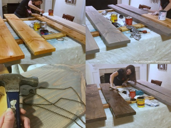DIY Modern Rustic Console Table, Finishing Wood With Layered Stain, MyLove2Create