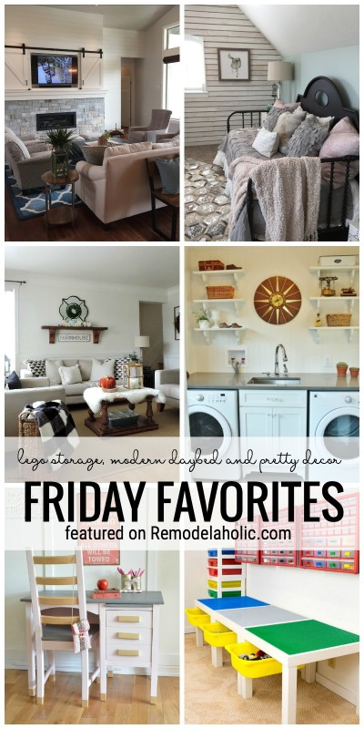LEGO Storage, Modern Daybed And Pretty Decor Featured On Remodelaholic.com For Friday Favorites