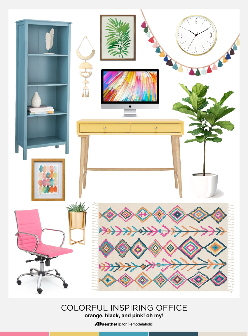 Colorful Home Office Mood Board: Create a chic and colorful home office with these decorating tips, inspiration, and furniture and decor selections.