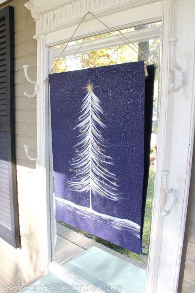 No Sew DIY Christmas Tree Tapestry Anthropologie Inspired Outside Wallhanging Tapestry Inspiredby Nosew Diy Artsychicksrule.com
