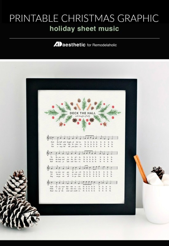 printable vintage Christmas sheet music art, Deck The Hall with boughs of holly, modern Christmas, instant download christmas decoration #remodelaholic