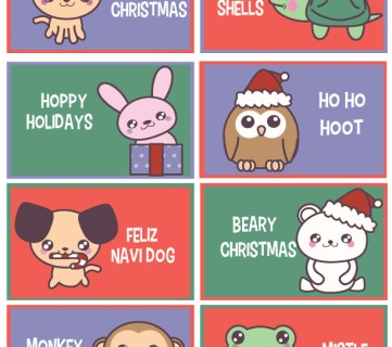 Free Printable: Funny Christmas Animal Lunch Box Notes