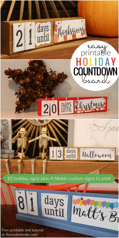 Easy DIY Holiday Countdown Boards With Printable Holiday Signs @Remodelaholic