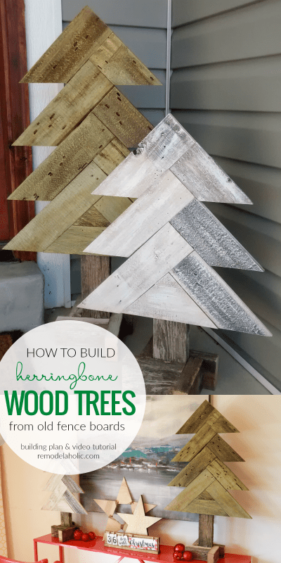 How To Build DIY Rustic Herringbone Wood Christmas Trees From Old Fence Boards | Video tutorial and free building plans at Remodelaholic.com