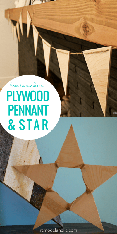 How To Make A Plywood Triangle Pennant Star And Matching Banner @Remodelaholic