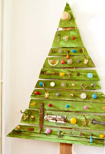 Pillarboxblue Flat Wood Scrap And Knob Christmas Tree