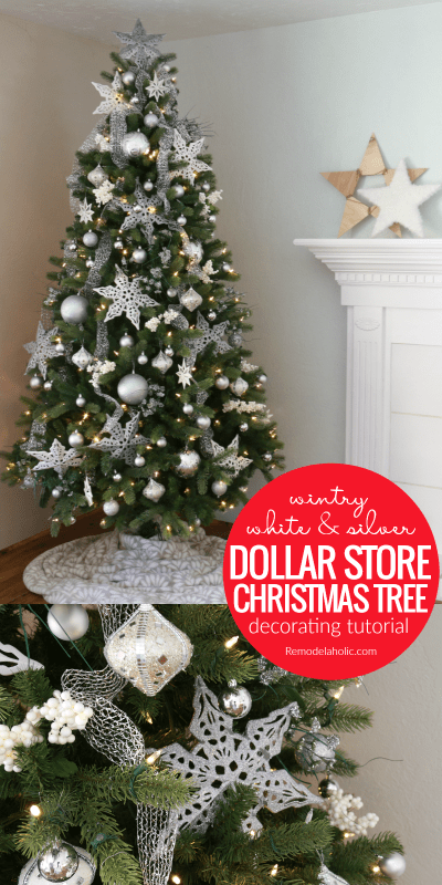 Decorate a budget-friendly white and silver Christmas tree with ornaments all from the dollar store! Learn how to use inexpensive ornaments to decorate a designer-style tree with this step-by-step video of our dollar store Christmas tree.