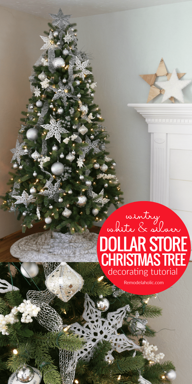 Dollar Tree Christmas.Remodelaholic Wintry White And Silver Christmas Tree From