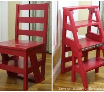 DIY Ladder Chair, Folding Step Stool Chair Woodworking Plan