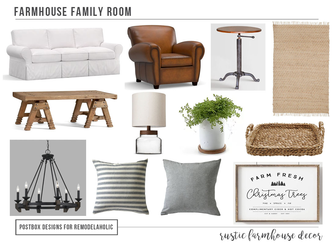 Tips for creating a beautiful modern rustic farmhouse family room, plus tricks to style an open floor plan. Includes affordable farmhouse furniture sources.