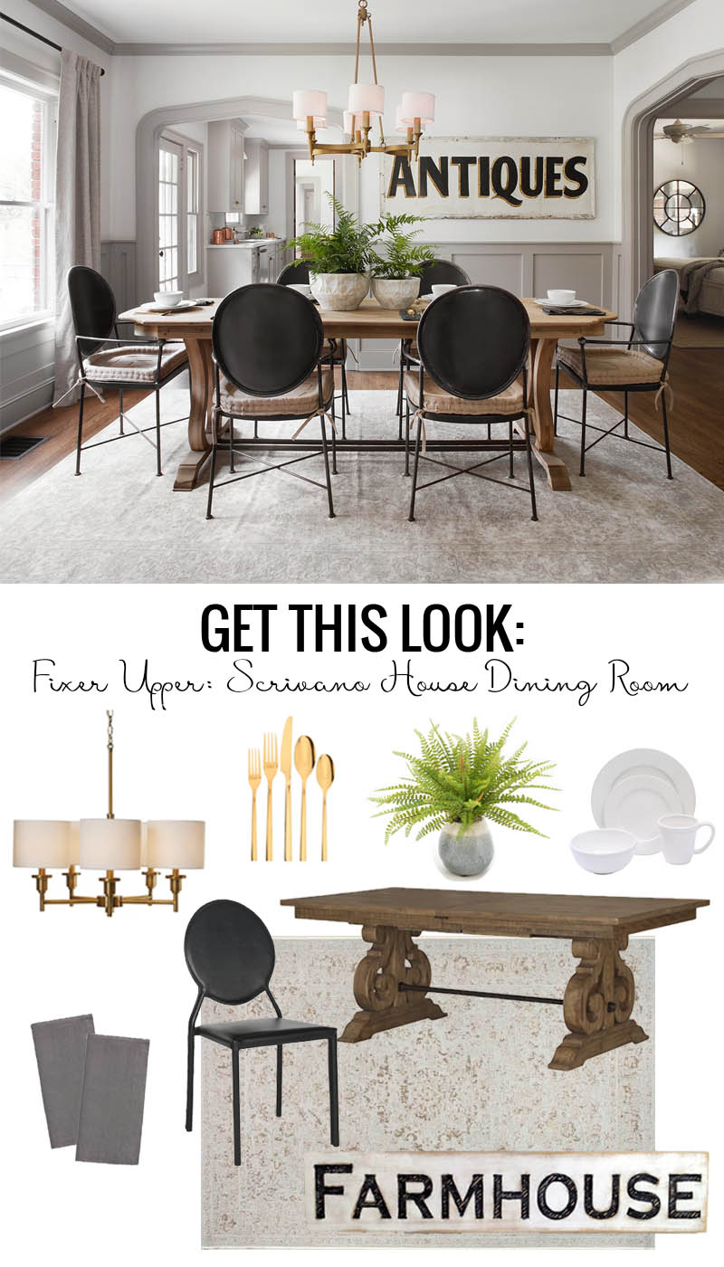 Fixer Upper Scrivano House Dining Room. Find nearly identical sources for the modern Tudor style dining room. featured on Remodelaholic.com