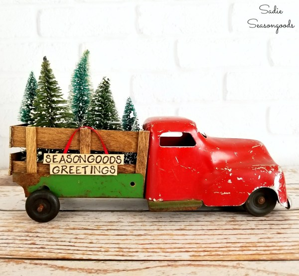 Vintage Toy Truck With DIY Popsicle Stick Bed Rails To Repurpose Upcycle As Christmas Tree Delivery Truck By Sadie Seasongoods
