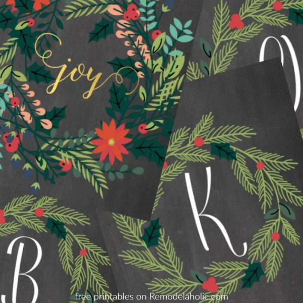 Free Printable Gift Idea, Christmas Holly Monogram And Joy Wreath Prints @Remodelaholic