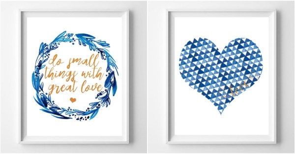 Free Printable Gift Idea, Blue And Gold Love Print Set @Remodelaholic