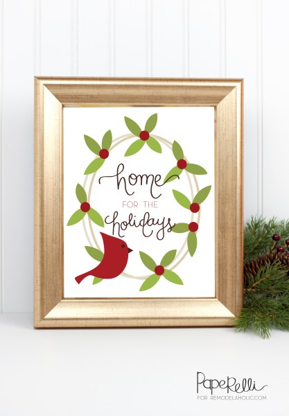 Free Printable Gift Idea, Christmas Home For The Holidays @Remodelaholic