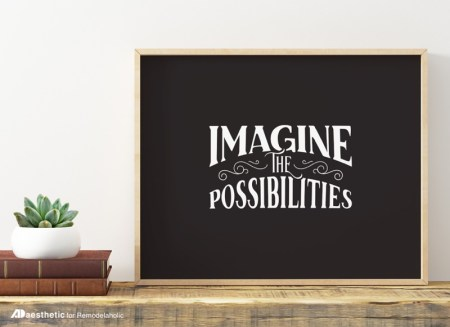 Free Printable Gift Idea, Imagine The Possibilities Modern Chalkboard Print @Remodelaholic