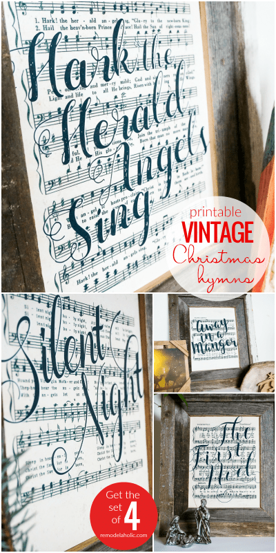 Printable Vintage Christmas Sheet Music Art Featuring Handlettered Song Titles On Old Hymn Book Pages #remodelaholic