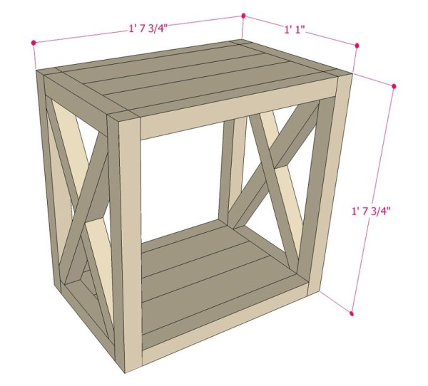 DIY Side Table Plans, Farmhouse End Table, Apieceofrainbow Remodelaholic