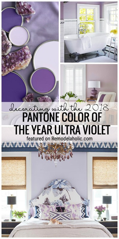 Don't worry you can decorate with the Pantone color of 2018 with these tips! Decorating with the 2018 Pantone Color of the Year Ultra Violet featured on Remodelaholic.com